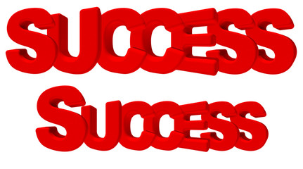 success successo parola 3d rossa, isolata su fondo bianco