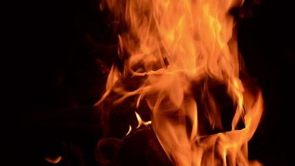 Cozy little fire burning