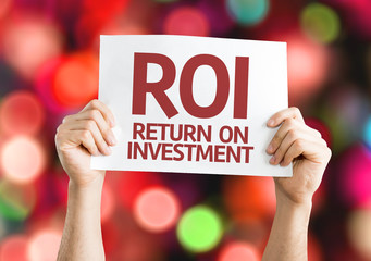 ROI card with colorful background with defocused lights