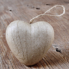 heart on a rustic wooden surface