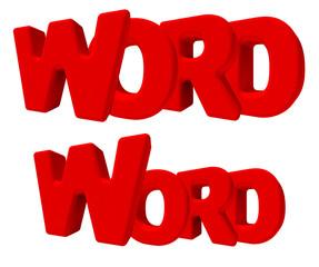word parola 3d rossa, isolata su fondo bianco