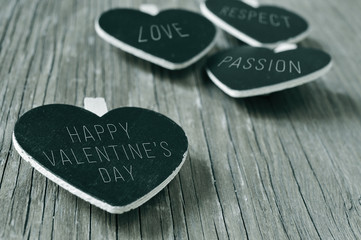 happy valentines day in a heart-shaped chalkboard, in black and