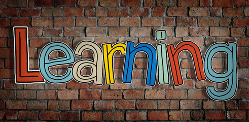 Learning Brick wall Single Word Text Background Clean Concept