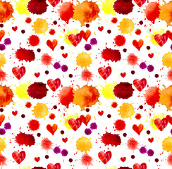 Watercolor colorful blot and heart, seamless pattern