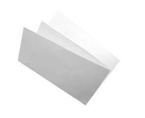Blank folded flyer isolated on white