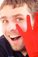 handsome man with red glove