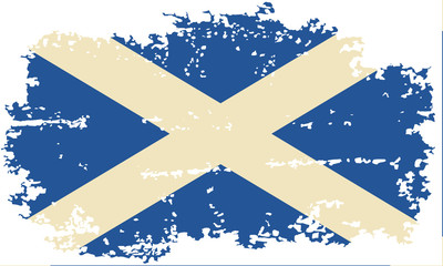 Scottish grunge flag. Vector illustration.