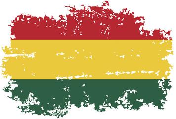 Bolivian grunge flag. Vector illustration.