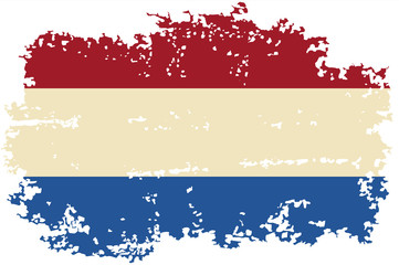 Dutch grunge flag. Vector illustration.