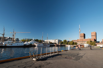Oslo fjord with Oslo City Hall