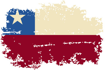 Chilean grunge flag. Vector illustration.