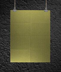 Golden poster on a rope.