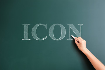 icon written on blackboard