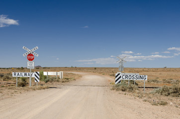 Railway crossing in remote area