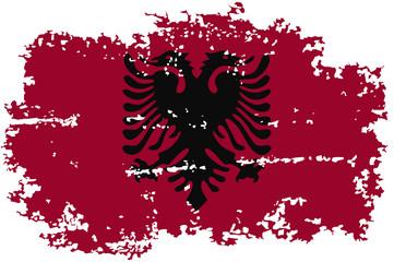 Albanian grunge flag. Vector illustration.