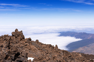 On top of Taide volcano above clouds Tenerife