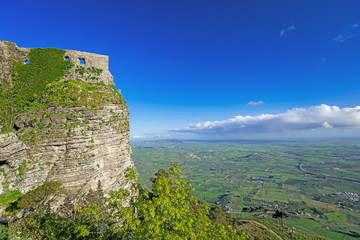 panoramic view of ancient fortresses of Erice town Italy
