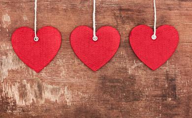 Textile pendent hearts
