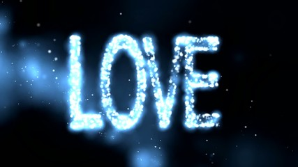 LOVE abstract  blue animation background.