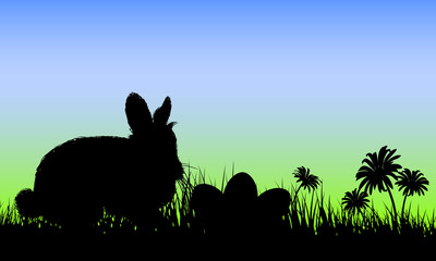 Vector illustration with easter eggs and Rabbit