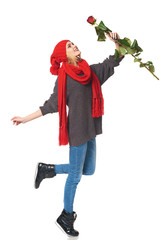 Beautiful woman holding red rose