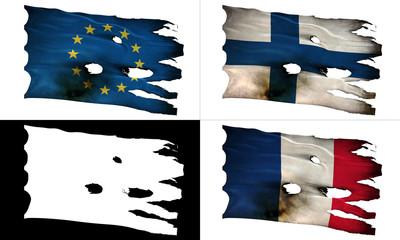 EU, FI, FR, perforated, burned, grunge fluttering flag alpha