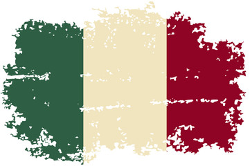 Italian grunge flag. Vector illustration.