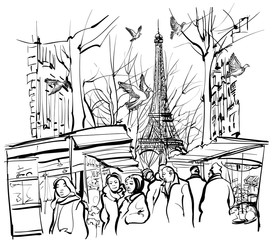 view of a market in Paris near the Eiffel tower