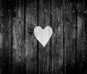 Wooden board with cut out heart shape