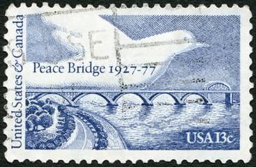 USA - 1977: shows Peace Bridge and Dove