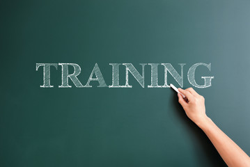 training written on blackboard
