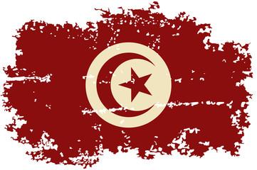 Tunisian grunge flag. Vector illustration.