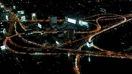 top view of night highway in Bangkok