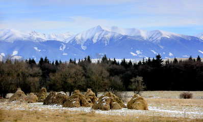 haystack's on Tatra mountains background