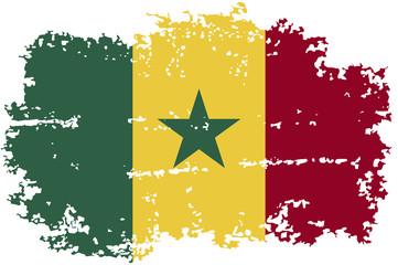 Senegalese grunge flag. Vector illustration.