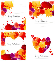 Watercolor colorful blot and heart frame collection