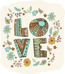 Color flowers and letters - love