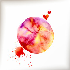 Watercolor colorful blot and heart