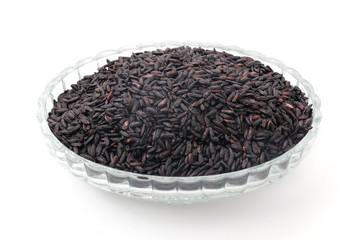 black sticky gaba rice isolated on white background