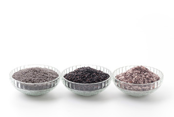 butterfly peas rice ,berry rice and black sticky gaba rice