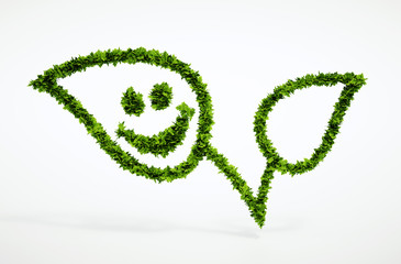 Eco natural leaf with smiley