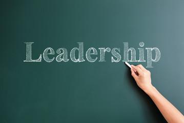 leadership written on blackboard