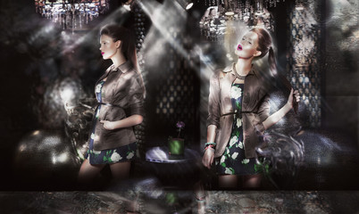 Trendy Fashion Models in Sunrays over Abstract Background