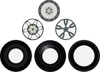 Set of car wheel discs and tyres