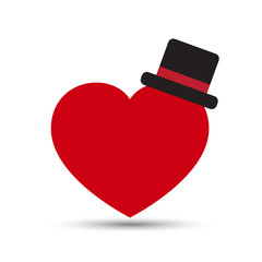Vector Love Heart with Black Top Hat