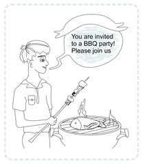 man cooking on his barbecue - funny doodle invitation