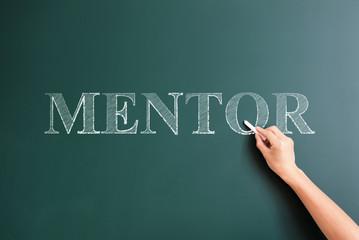 mentor written on blackboard