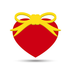 Vector Love Heart with Ribbon Bow