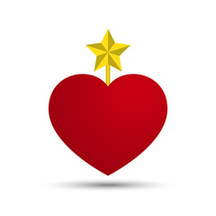 Vector Love Heart with Five Point Star