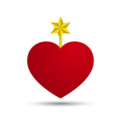 Vector Love Heart with Six Point Star